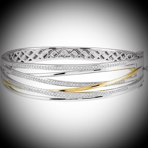 14KT White And Yellow Gold Diamond Multi-Row Bracelet