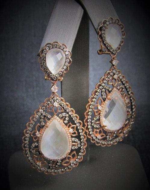 14KT Rose Gold Diamond And White Topaz Fancy Earrings
