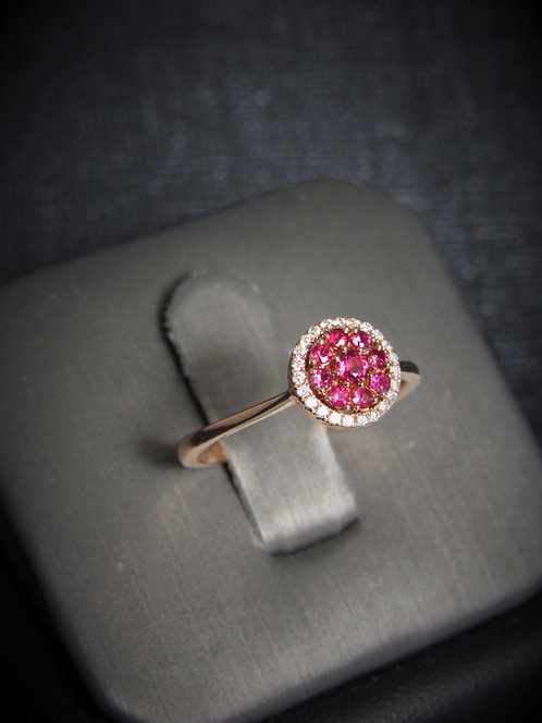 14KT Rose Gold Diamond And Ruby Cluster Ring