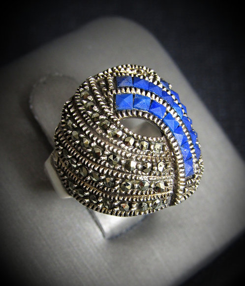 Blue Lapis & Marcasite Sterling Silver Ring