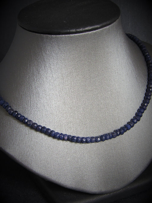 14KT White Gold Clasp Sapphire Bead Necklace