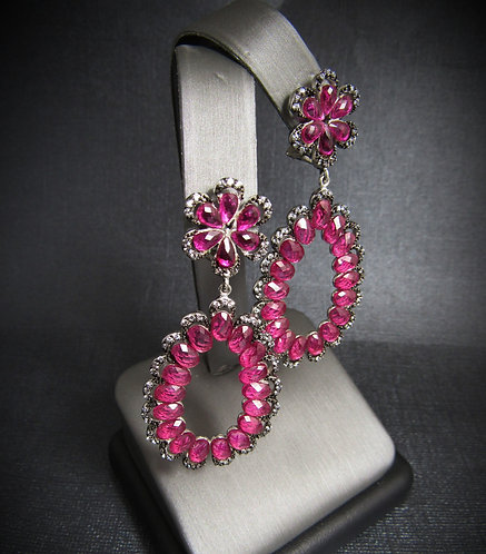 Rubellite With White Topaz Sterling Silver Chandelier Earrings
