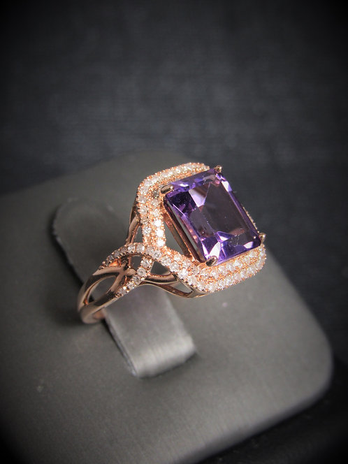 14KT Rose Gold Diamond And Amehtyst Ring