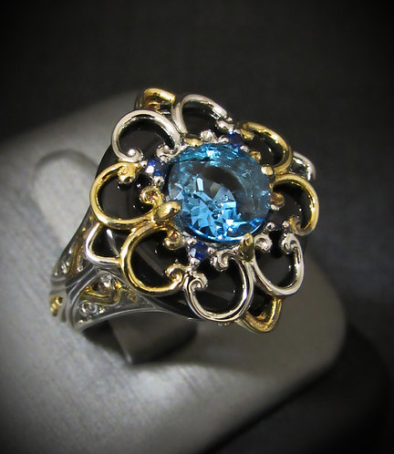 Blue Topaz, Sapphires, Black Onyx & 18KT Gold Plated Sterling Silver Ring