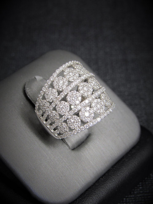 14KT White Gold Diamond Multi-Clusters Ring