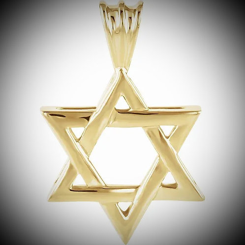14KT Yellow Gold Star Of David Polished Style Pendant