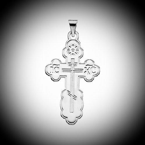 14KT White Gold Orthodox Cross Pendant
