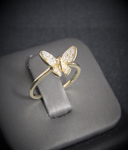 14KT Yellow Gold Diamond Butterfly Ring