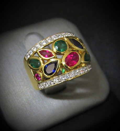 Ruby, Emerald, Sapphire, & Topaz 14KT Yellow Gold Plated Sterling Silver Ring