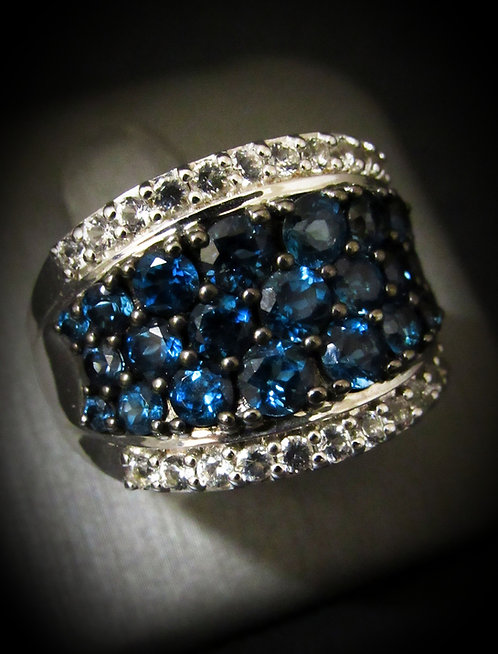 London Blue Topaz & White Topaz 18KT Gold Plated Sterling Silver Ring