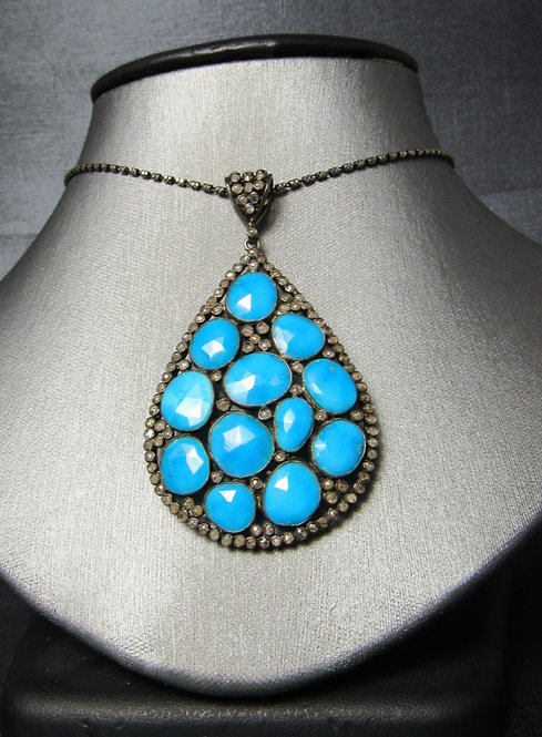 Turquoise & Chocolate Diamonds Rhodium Plated Sterling Silver Necklace