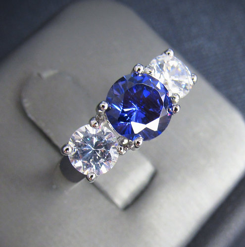 Tanzanite With Cubic Zirconia 14KT Gold Plated Sterling Silver Ring
