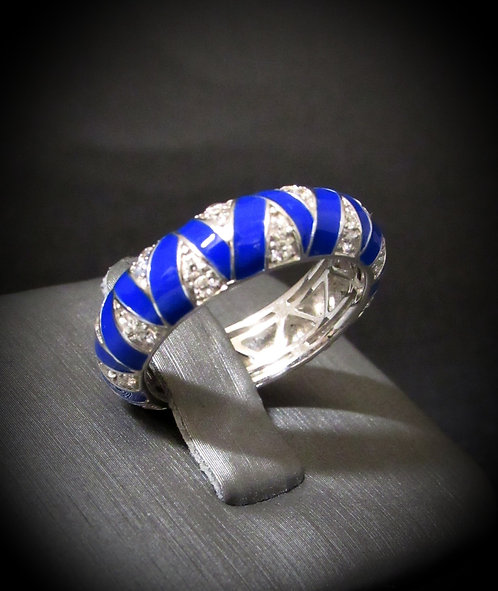 Hidalgo Cobalt Royal Blue Enamel & Diamonique Sterling Silver Band