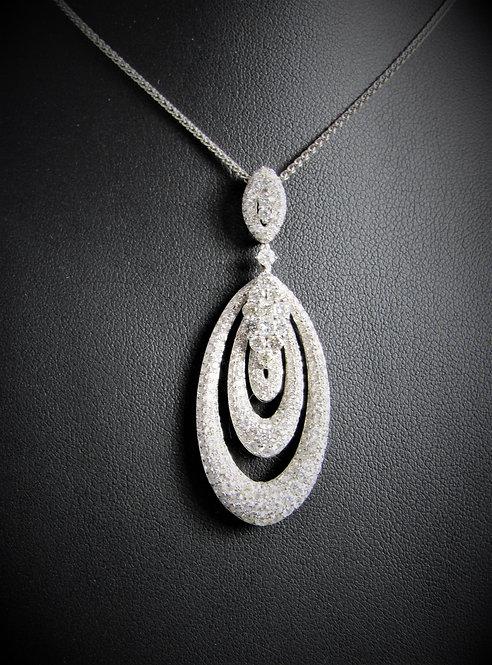 18KT White Gold Diamond Pave Style Drop Pendant