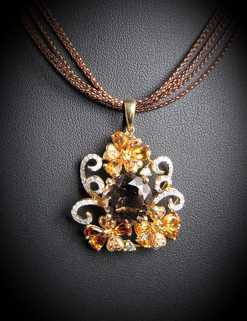 14KT Yellow Gold Diamond Citrine And Smoky Topaz Pendant