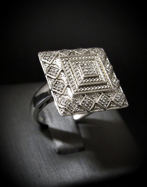 Square Pavé Diamonds 18KT Gold Plated Sterling Silver Ring