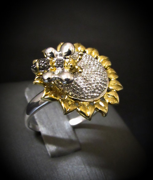 Diamond Bumble Bee Sunflower 18KT Yellow Gold Plated Sterling Silver Ring