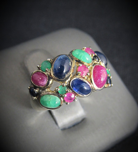 Ruby, Sapphire, & Emerald 18KT Gold Plated Sterling Silver Ring