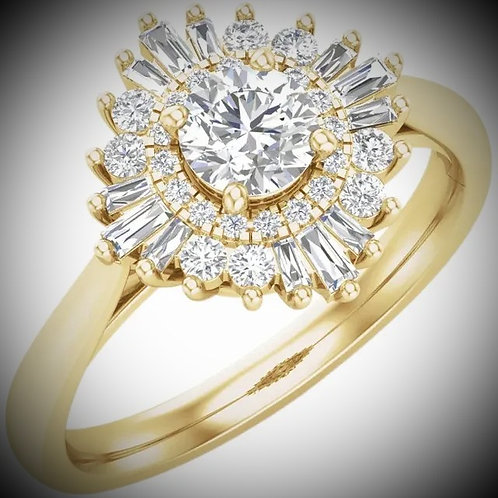 14K Yellow 6.5 mm Round 7/8 CTW Diamond Semi-Set Engagement Mounting