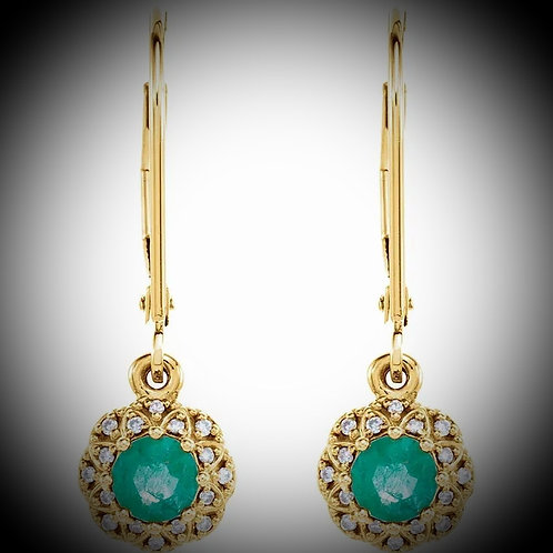 14KT Yellow Gold Emerald And Diamond Vintage Inspired Earrings