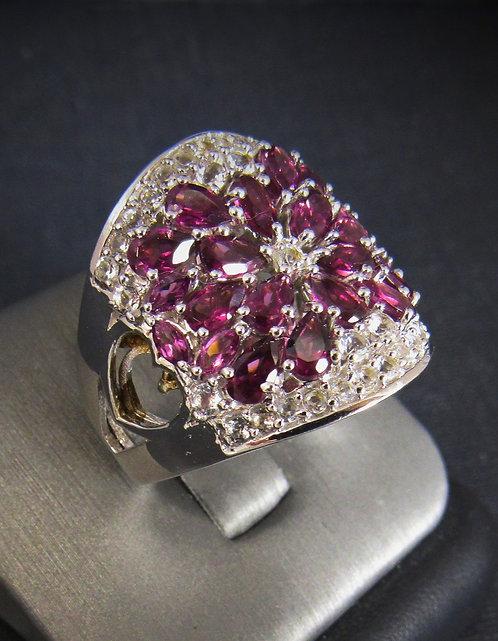 Rhodolite Garnet 18KT Gold Plated Sterling Silver Ring