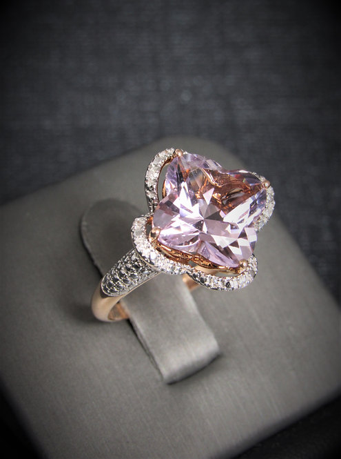 14KT Rose And White Gold Diamond And Pink Amethyst Clover Ring