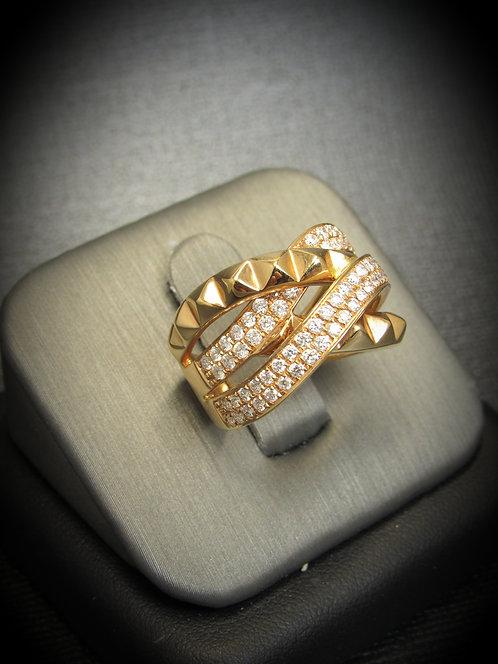 18KT Rose Gold Diamond Multi Row Ring