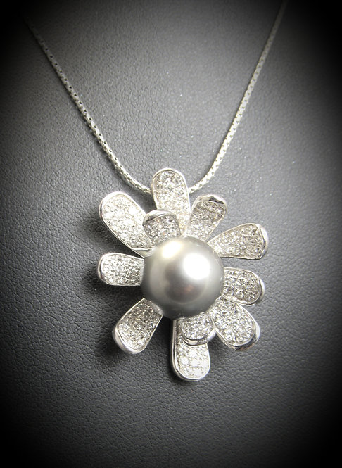 18KT White Gold Diamond And Pearl Flower Pendant