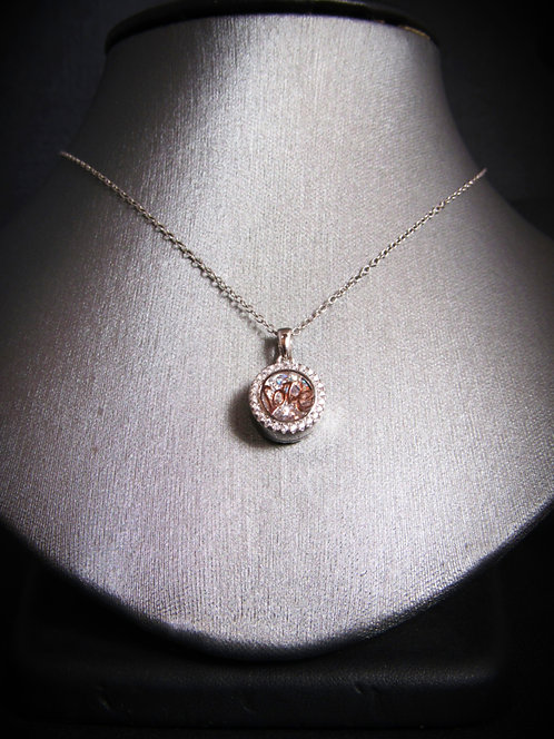 """Love"" Pavé White Topaz 14KT Rose Gold Plated Sterling Silver Necklace"