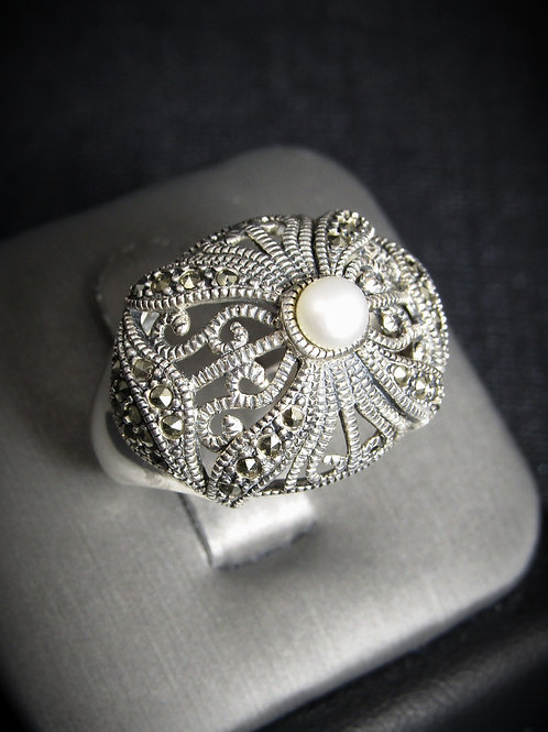 White Pearl & Marcasite Sterling Silver Ring