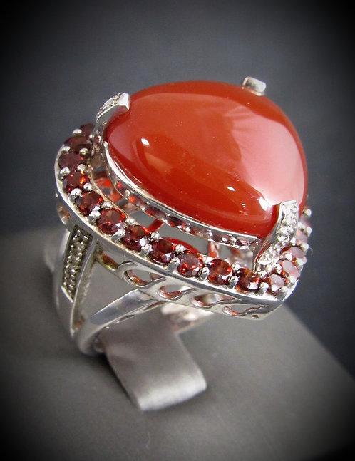 Heart Shaped Carnelian, Garnet, & Diamonds Sterling Silver Ring