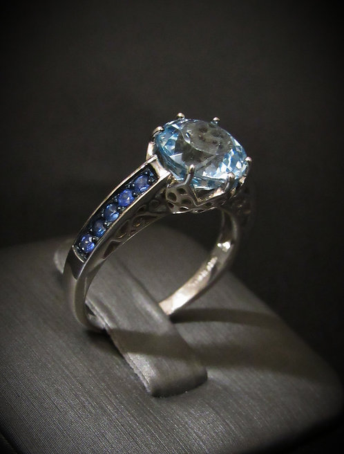 Round Blue Topaz & Blue Sapphire Sterling Silver Ring