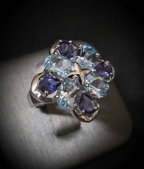Blue Topaz & Purple Iolite Clover 14KT Gold Plated Sterling Silver Ring