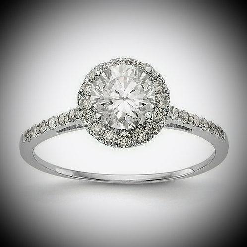 14kt Two-Tone Gold Round Halo Diamond Engagement Mounting