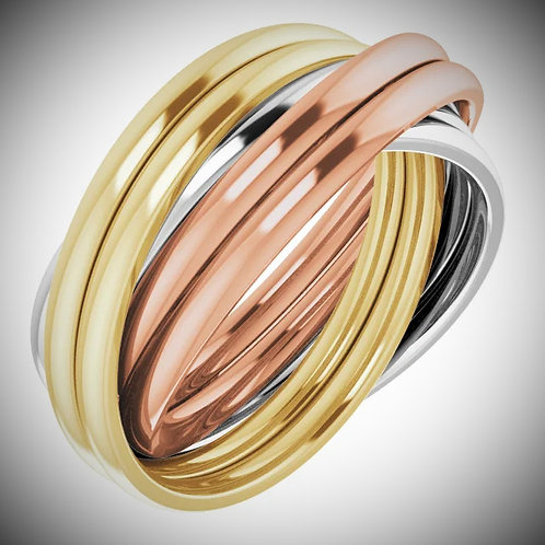 14KT Tri-Color Six Band Rolling Band Ring
