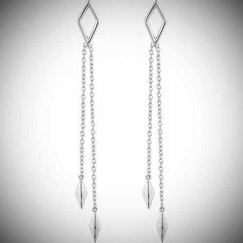 14KT White Gold Geometric Chain Earrings