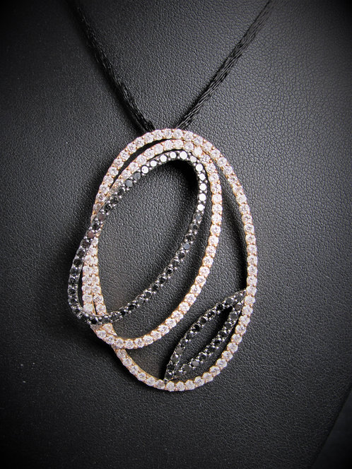 18KT Rose Gold White And Black Diamond Fancy Pendant