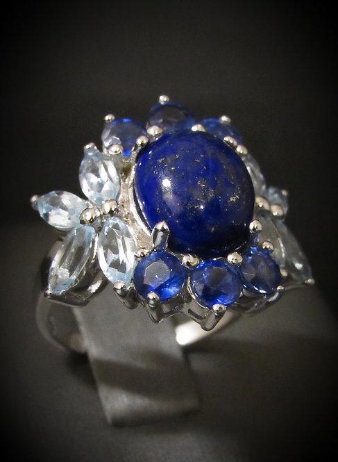 Lapis, Blue Sapphire, & Aquamarine Sterling Silver Ring