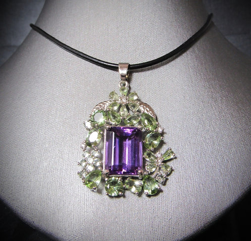 Amethyst & Green Tourmaline Sterling Silver Necklace