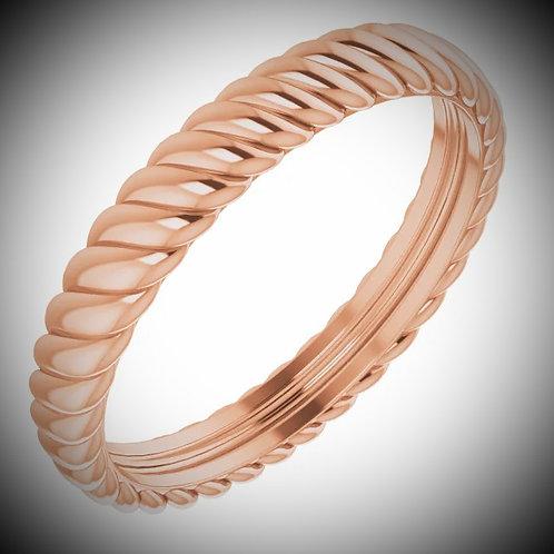 14KT Rose Gold Polished Rope Design Band
