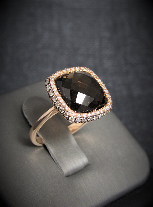 14KT Rose Gold Champagne And White Diamond And Smoky Topaz Ring