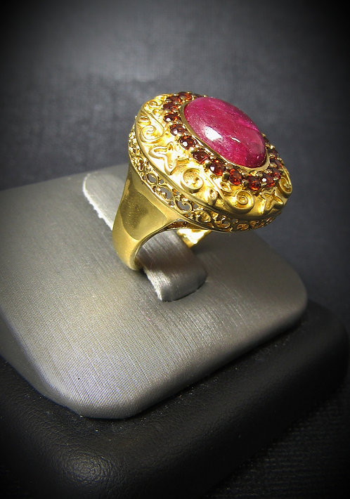 Ruby & Garnet 14KT Yellow Gold Plated Filigree Sterling Silver Ring