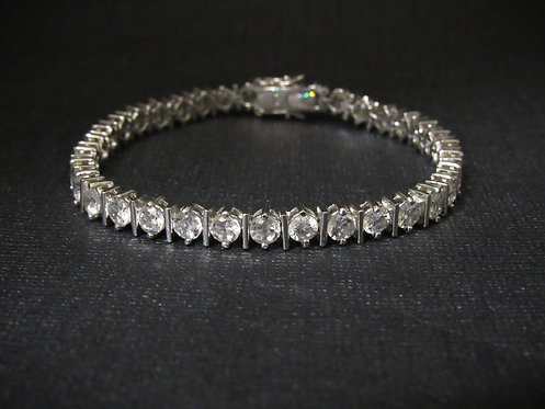Cubic Zirconia 14KT Gold Plated Sterling Silver Tennis Bracelet