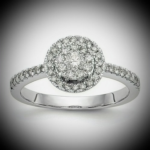 14K White Gold Complete Diamond Cluster Engagement Ring