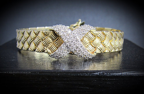 14KT Yellow And White Gold Diamond Textured Bracelet