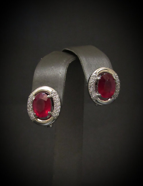 Oval Ruby 14KT Gold Plated Sterling Silver Earrings