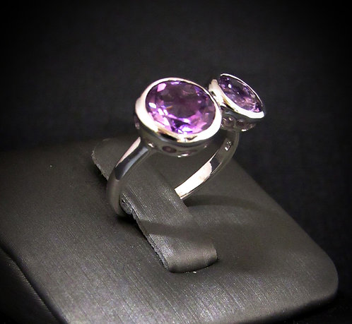 Amethyst 14KT Gold Plated Sterling Silver Ring