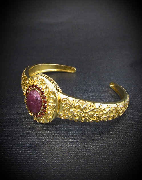 Cabochon Ruby & Garnet Sterling Silver & 14KT Yellow Gold Plated Filigree Cuff