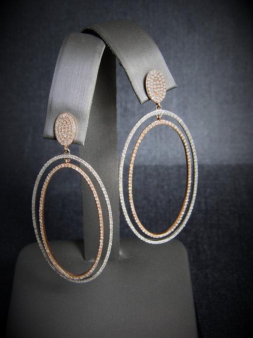 14KT White And Rose Gold Diamond Oval Dangling Earrings
