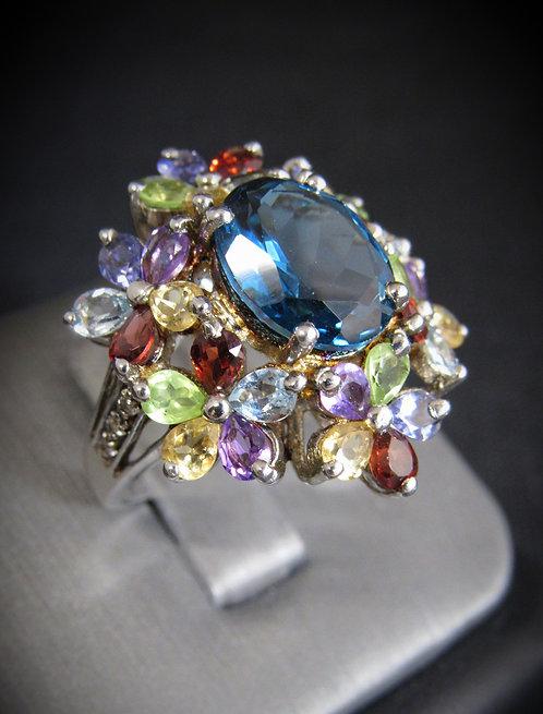 London Blue Topaz Multigem 18KT Gold Plated Sterling Silver Ring